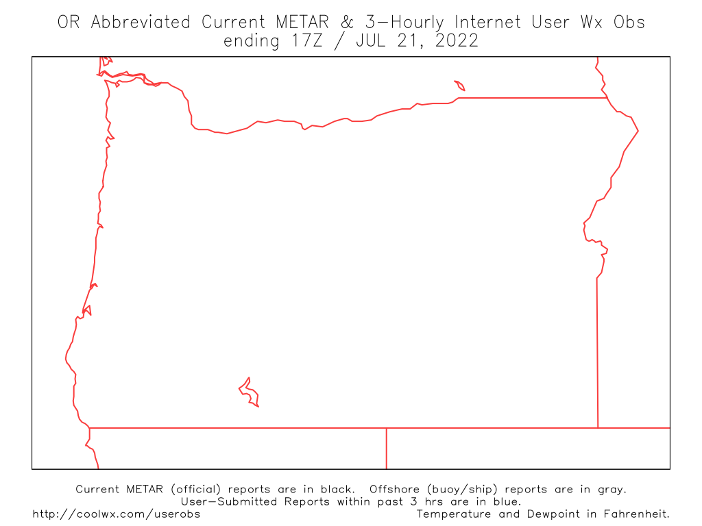Northwest US Internet User Weather Observation Map - Map of northwest us