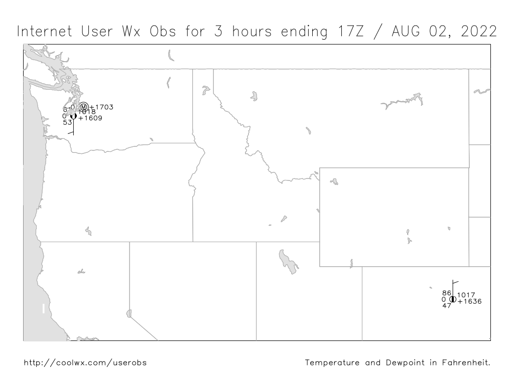 Northwest U.S. Internet User Weather Observation Map