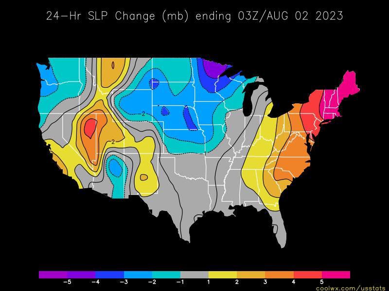 Us Pressure Change Statistics And Maps - Pressure-map-of-us