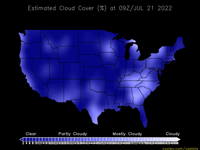 US Cloud Cover Statistics And Maps - Us cloud map