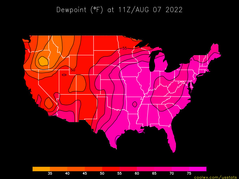 US Dewpoint Statistics And Maps - Us dewpoint map