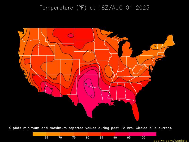 US Temperature Statistics And Maps - Us current temps map