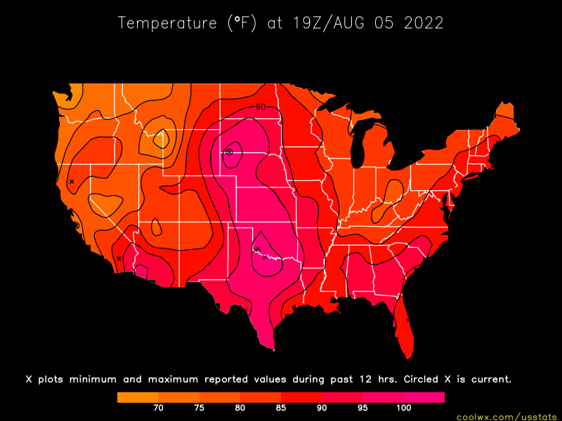 Us Weather Map Current Temperatures Vector With Us Weather Map - Us current temps map